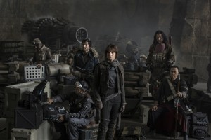 Star Wars: Rogue One..L to R: Actors Riz Ahmed, Diego Luna, Felicity Jones, Jiang Wen and Donnie Yen..Photo Credit: Jonathan Olley..?Lucasfilm 2016